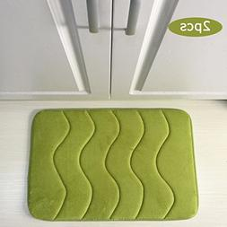 Wave Memory Foam Bath Mat For Bathroom Set Of 2 Machine Wash