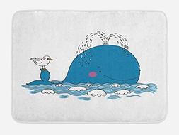 Ambesonne Whale Bath Mat by, Sea Mammal Caricature Swimming