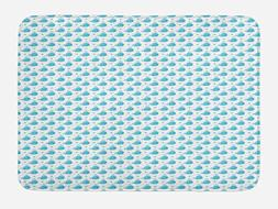 Ambesonne Whale Bath Mat by, Little Fish Figures Squirting W