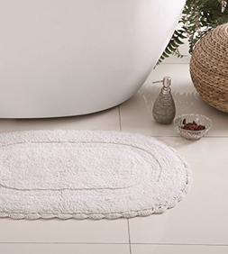 White Bath Rug: Soft and Absorbent Oval 100% Cotton with Dec