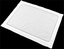 CleverDelights 6 Pack White Linen Hemstitched Placemats - 14