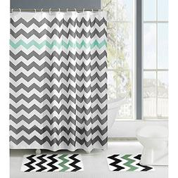 Amagical 15 Piece Zig Zag Shower Curtain Set Bath Mat Set Co