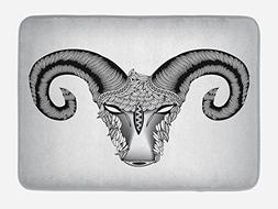 Ambesonne Zodiac Aries Bath Mat by, Head of Aries Artistic I